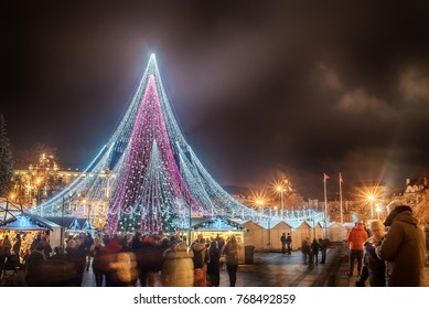 Vilnius, Lithuania: Christmas tree and decorations in Cathedral Square, night view