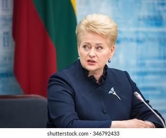 VILNIUS, LITHUANIA - Dec 02, 2015: President of Lithuania Dalia Grybauskaite during a meeting with President of Ukraine Petro Poroshenko in Vilnius