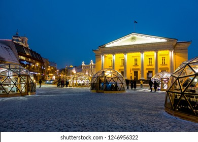 Vilnius, Lithuania - December 02, 2018: Christmas market in Vilnius Town Hall square. Christmas in Vilnius - the largest festival of the capital of Lithuania