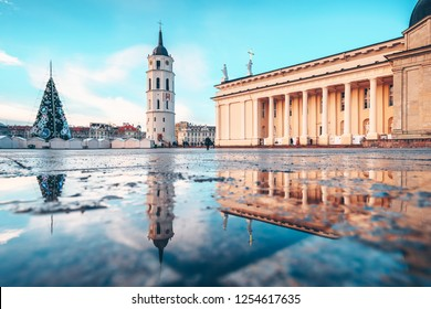 VILNIUS, LITHUANIA - DECEMBER 06, 2018: Christmas tree and Christmas market at Cathedral Square in Vilnius, Lithuania