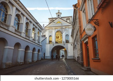 VILNIUS, LITHUANIA - DECEMBER 06, 2018: The Gate of Dawn, or Sharp Gate is a city gate and one of its most important religious, historical and cultural monuments