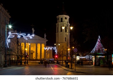 Vilnius, Lithuania - December 2, 2017: The main street of Lithuanian capital city Vilnius - Gediminas avenue - is decorated for Chrismass and New Year celebration.