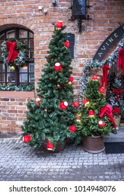 Vilnius, Lithuania - December 30, 2017:  Christmas and New Year's decor of the entrance to the restaurant in the old town in Vilnius