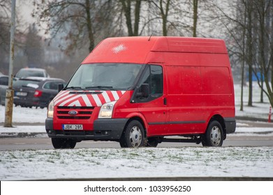 VILNIUS, LITHUANIA - FEB 3, 2018: Ford Transit van (third generation) . The Ford Transit is a range of light commercial vehicles produced by Ford since 1965.
