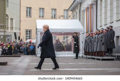 Vilnius / Lithuania - February 16, 2019: Lithuanian State Restoration Day, Lithuanian President Dalia Grybauskaite