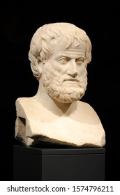 Vilnius, Lithuania - February 16 2019: Philosophy. Aristotle. Beautiful white marble bust of the great philosopher Aristotle from Athens