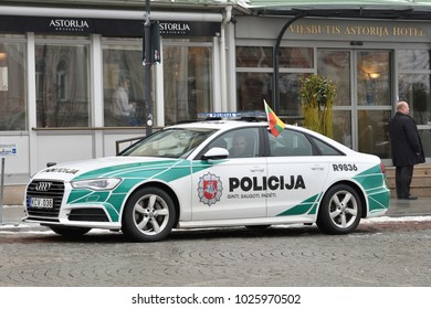 Vilnius, Lithuania - February 16: Police Audi A6 car Parked In Old Town of Vilnius on February 16, 2018. Vilnius is the capital of Lithuania and its largest city.