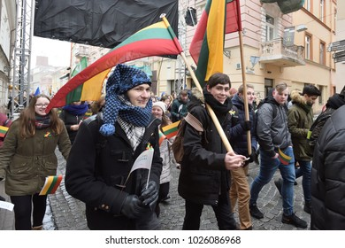 Vilnius, Lithuania - February 16: unidentified people gathered with flags in a natonal celebration for the Day of Independence of Lithuania on February 16th, 2018 in Vilnius, Lithuania.