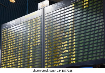 Vilnius, Lithuania - February 21 2019: Big information board in the Vilnius airport