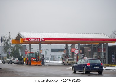 VILNIUS, LITHUANIA - FEBRUARY 3, 2018: Circle K petrol station. In 2016, Couche-Tard decided to merge Circle K and Statoil Fuel & Retail into the Circle K brand.