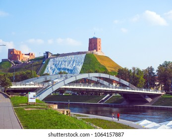 Vilnius, Lithuania Gediminas' Hill with funicular at Gediminas Fort Tower above Old Town on Neris River at Mindaugas Bridge