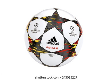VILNIUS, LITHUANIA - JANUARY 10, 2015: The Adidas Finale 2014-15 UEFA Champions League Ball isolated on white background
