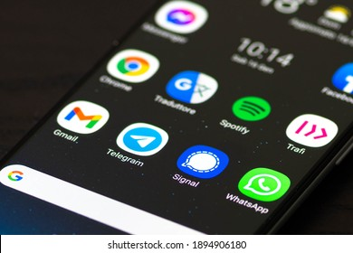 Vilnius, Lithuania - January 16 2021: Signal app, a cross-platform encrypted messaging service developed by the Signal Foundation and Messenger, displayed on a smartphone with Whatsapp and Telegram