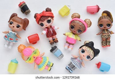 Vilnius, Lithuania - January 21, 2019: L.O.L. surprise dolls Glitter and Under Wraps series.