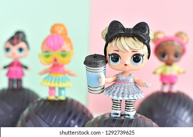 Vilnius, Lithuania - January 21, 2019: L.O.L. surprise dolls from Glitter series.