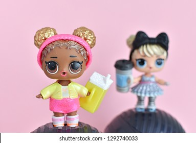 Vilnius, Lithuania - January 21, 2019: L.O.L. surprise dolls from Glitter series, pink background.