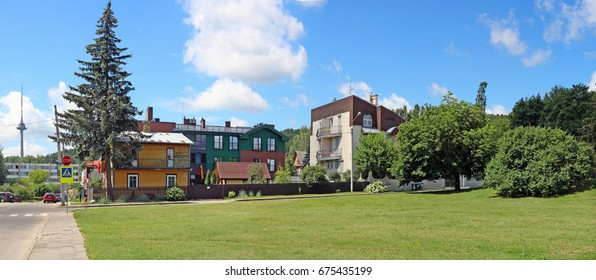 VILNIUS, LITHUANIA - JULY  06, 2017:  Fragment of the street, green lawns and creative apartment buildings in the historic elite central area of the Lithuanian capital - Zverinas (Zoo park)