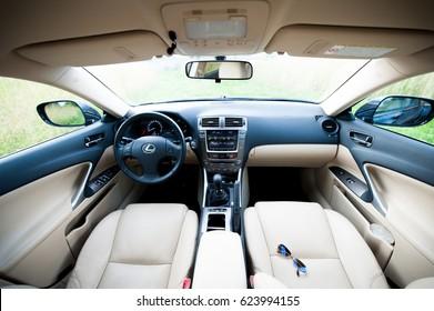 VILNIUS, LITHUANIA - JULY 10, 2012: Luxury Lexus Car Interior.