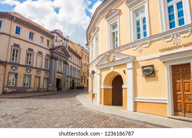 Vilnius, Lithuania - July 24, 2018: Dominikonu (Dominican) street in the old town of Vilnius.