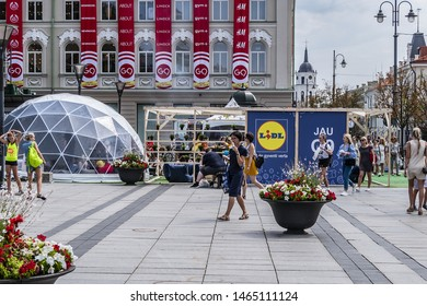 VILNIUS, LITHUANIA - JULY 29, 2019: Lidl opened in the renovated GO9 shopping center in Vilnius Old Town building (Gedimino 9). Celebration of opening of Lidl in Vincas Kudirka square.