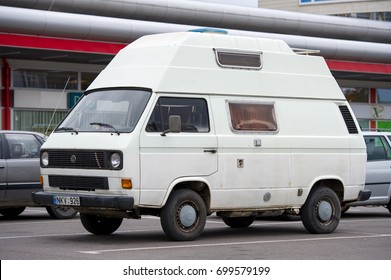 VILNIUS, LITHUANIA - JULY 30, 2016: Volkswagen T3 Transporter  Camper van. The Volkswagen Transporter (T3) is a van produced by the German manufacturer Volkswagen Commercial Vehicles.