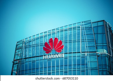 VILNIUS, LITHUANIA - July 30, 2017 : Huawei skyscraper in the Vilnius city center. Modern office of technology company Huawei in Vilnius, Lithuania