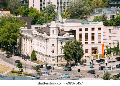 Vilnius, Lithuania  - July 5, 2016:  Top View of Roof Of The Energy And Technology Museum In Rinktines Street