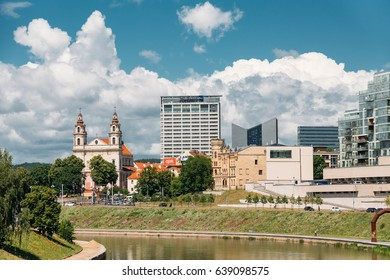 Vilnius, Lithuania  - July 5, 2016:  Church Of The St Raphael The Archangel And Former Jesuit Monastery, Radisson Blu Hotel In Sunny Summer Day.