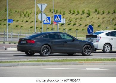 VILNIUS, LITHUANIA - JULY 6, 2017: Audi A5 car. The Audi A5 is a series of compact executive cars produced by the German automobile manufacturer Audi since March 2007.