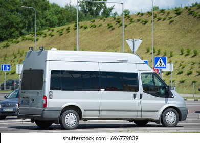 VILNIUS, LITHUANIA - JULY 6, 2017: Ford Transit van (third generation) . The Ford Transit is a range of light commercial vehicles produced by Ford since 1965.