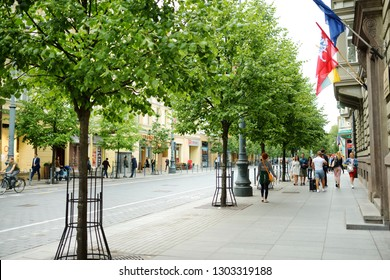 VILNIUS, LITHUANIA - JULY 7, 2018: Gediminas Avenue, the main street of Vilnius, where most of the governmental institutions of Lithuania are concentrated, including the government and parliament.