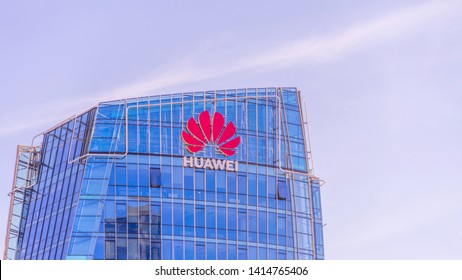 Vilnius, Lithuania - June 03, 2019: Huawei logo on modern building wall. Huawei is Chinese multinational technology company