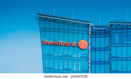 Vilnius, Lithuania - June 03, 2019: The Office and logo of Swedbank in Vilnius Lithuania. Swedbank is the leading bank in Sweden Estonia Latvia and Lithuania