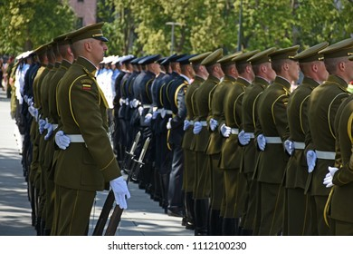Vilnius, Lithuania - June 10, 2018: Solemn NATO troops formation