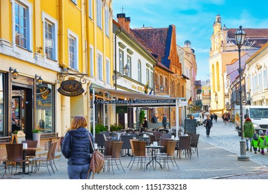 Vilnius, Lithuania - June 17, 2015: Downtown of the city, on Pilies street in the historic part of the old city of Vilnus. Lithuania.
