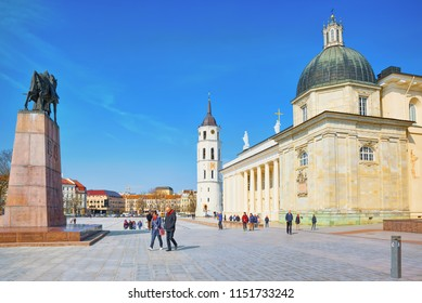 Vilnius, Lithuania - June 17, 2015:  St. Stanislaus Cathedral on Cathedral Square with Monument to Grand Duke Gediminas in the historic part of the old city of Vilnus.