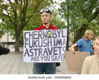 Vilnius, Lithuania - June 21, 2019:  Protestor: Chernobyl, Are You Safe?
