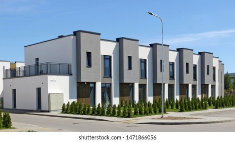 VILNIUS, LITHUANIA - JUNE 24, 2019: The new modern standard modular home on Elbingo street with  apartments for young families. It is the best ecological area  of Pilaite  in Lithuanian capital