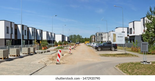 VILNIUS, LITHUANIA - JUNE 24, 2019: The new modern standard cottage  for young familie on Kings  street costs 108 thousand euros. It is the most ecological area  Pilaite  in capital