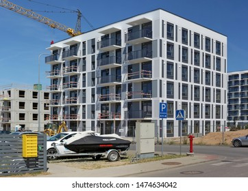 VILNIUS, LITHUANIA - JUNE 24, 2019: The new modern standard  house for young families  on Kings  street  unfinished construction. It is the most ecological area  Pilaite  in Lithuanian capital