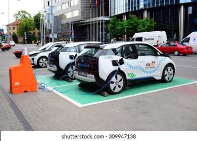 VILNIUS, LITHUANIA - JUNE 25 : Electro mobile charging station in Vilnius city center on June 25, 2015, Vilnius, Lithuania.