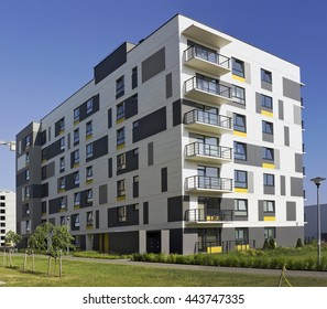 VILNIUS, LITHUANIA - JUNE 26, 2016: The modern modular house with low cost small-sized apartments for young families. It is the ecological region of Pilaite of the Lithuanian capital