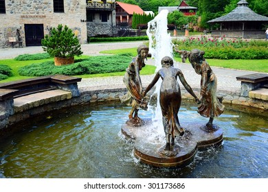 VILNIUS, LITHUANIA - JUNE 28: Fountains in Entertainment and Recreation Center Belmontas on June 28, 2015, Vilnius, Lithuania.
