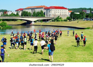 VILNIUS, LITHUANIA - JUNE 6 : Vilnius city open sport event Vilnius challenge on June 6, 2015, Vilnius, Lithuania. Vilnius Challenge is an urban multi-sport race and true adventure in Vilnius city.