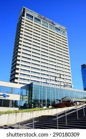 VILNIUS, LITHUANIA - JUNE 6 : Hotel Radisson Blu view on June 6, 2015, Vilnius, Lithuania.