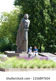 VILNIUS, LITHUANIA - JUNE 9, 2018: Monument to Adam Mickiewicz, a Polish poet, dramatist, essayist, publicist, translator, professor of Slavic literature, and political activist of 19th century