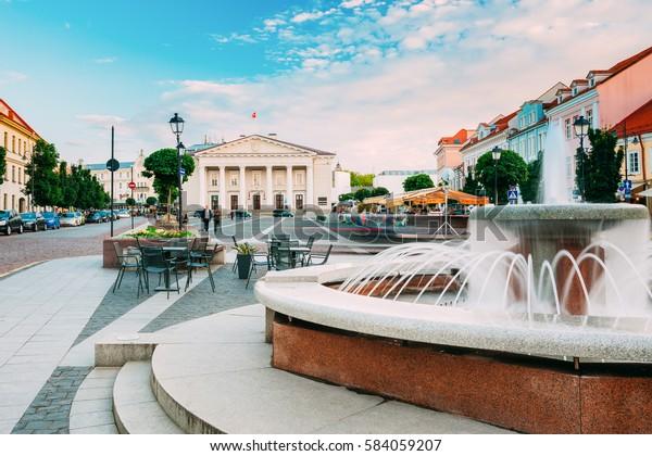 Vilnius, Lituanie. La Fontaine En Marbre Et La Vue Sur La Rue Didzioji, L'Ancien Lieu De La Vieille Ville En Été Sous Le Ciel Bleu.