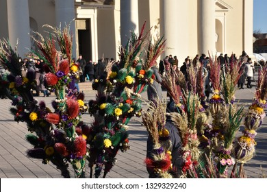 Vilnius, Lithuania - March 02 2019: Bunch of willow in Kaziukas fair