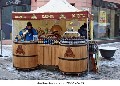 VILNIUS, LITHUANIA - MARCH 03, 2018: Natural ecologically national Lithuanian beer and kvass are on sale on the street on the traditional spring fair