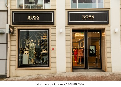 Vilnius, Lithuania - March 07, 2020: Hugo Boss boutique showcase in old town. Hugo Boss is German luxury fashion and style brend